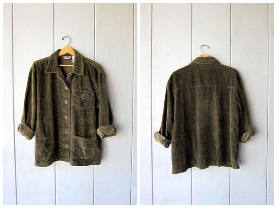 90s Corduroy Rib Shirt Jacket Vintage Army Green Shirt Long Sleeve Button Up RIBBED Shirt Grunge Top Oversized Shirt Womens Medium Large