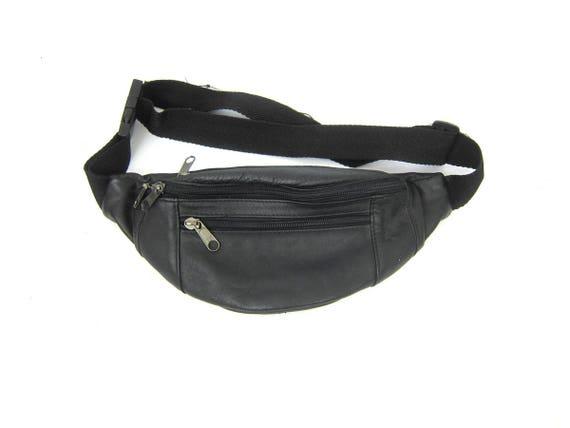 Vintage black leather 1980s FANNY PACK purse Unisex retro Hipster Walking Jogging Waist Bag