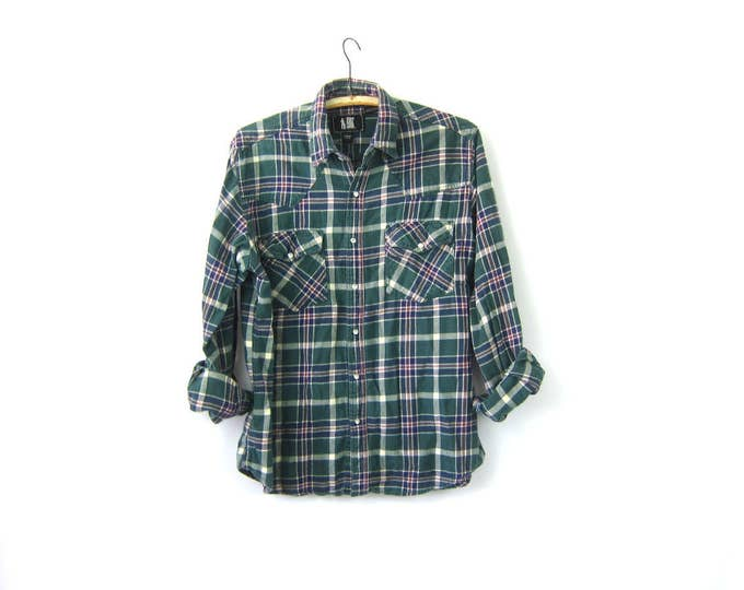 Western Flannel Shirt Pearl Snap Green plaid Cowboy Top Boho Hipster Vintage Country Button Up COED Men's Shirt Size Large