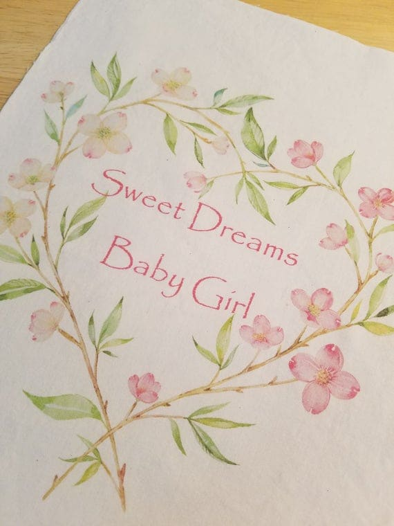 Baby girl quilt square sew on patch nursery fabric panel for Floral nursery fabric