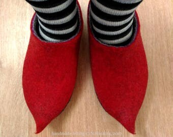Fabulous home shoes felted slippers Natural wool felt, handmade felt 100% wool