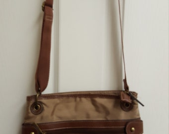 Travel  Bag Vintage Cross over Leather and Water Resistant Gabardine Brown duffle bag carry on bag Hands free Bags