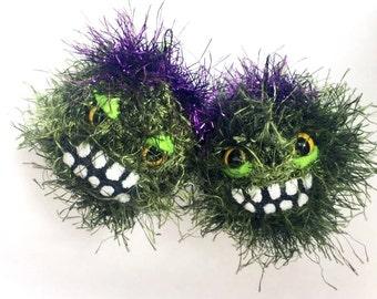 Moody Monster Earrings // Funky Faux Fur Crochet Earrings // Made to Order
