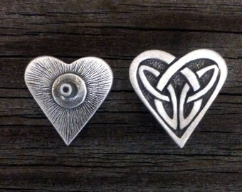 Celtic Heart Concho | Heart Accessories | Irish | Valentines | Heart | Celtic | Handcrafted Leather Accessories | by Treasure Cast Pewter