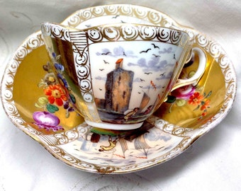 Cup & Saucer Asian Scenes Flowers - Red Purple Blue - Deep Scallops - Hand Painted Panels - Professionally REPAIRED Saucer with 5 Staples