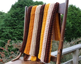 Manly Lap Afghan Brown Tan Golden Yellow Handmade Couch Throw Stroller blanket Toddler afghan