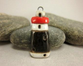 Miniature Lighthouse Pendant in Stoneware...White/Black/Red