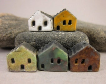 5 Saggar Fired Miniature House Beads...White Yellow Copper Green Copper Blue Brown