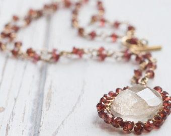 Garnet and Rutilated Quartz necklace