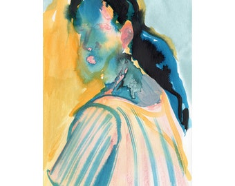original artwork Girl with ponytail portrait gouache on paper