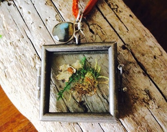 Square Glass Locket with Moss on Leather Cord