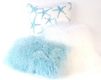 Mongolian Fur Pillow ~ Mint Fur Pillow ~ Genuine Mongolian Lamb ~ Light Blue Mongolian Pillow ~ Aqua Fur Pillow ~ Mongolian Lumbar Pillow