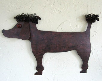Metal Wall Art Poodle Wall Sculpture Animal Decor Indoor Outdoor Wall Art Recycled Metal Sculpture 10 x 15 Brown Black