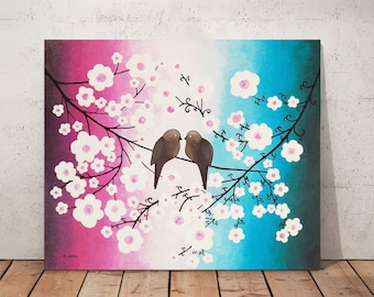 Two Love Birds Painting Bedroom Decor, Romantic Love Art Wall Decor, Blossom Tree Branch Gift for Couple
