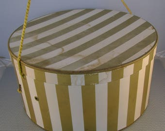 Large Vintage Gold and White Striped Hat Wig Box Display Storage 7 x14 Inches