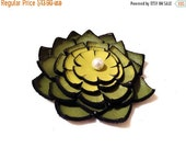 40% OFF Sale Jewelry supplies. Handmade LARGE leather Lilly flower for crafts and jewelry making, Green and yellow color