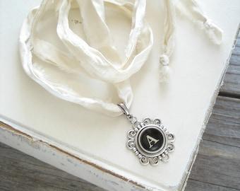 Typewriter Key Necklace. Letter A Necklace. Vintage Typewriter Key Jewelry. Long Boho Sari Silk Ribbon Necklace. Upcycled Eco Friendly Gift.