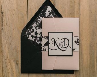 Digital  - Fancy Blush and Black Floral Pocket Folder Wedding Invitation - SAMPLE (ADELE)