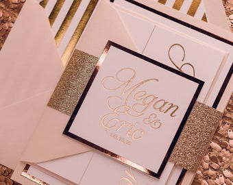 Foil - Vertical Fancy Rose Gold Glitter Striped Cutie Wedding Invitations - SAMPLE (NICOLE)