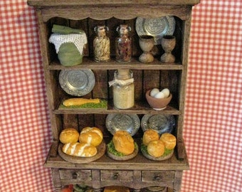 Tudor Hutch, filled dresser, Hutch and  accessories, Medieval Kitchen Dresser, Twelfth scale miniature, dollhouse mini
