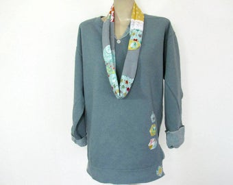 Women's Sweatshirt, Grey Appliqued Sweatshirt, Fashionable, Hexagon Sweatshirt, Appliqued Hexagon Sweatshirt, Pigment Dyed, sizes S-2XL