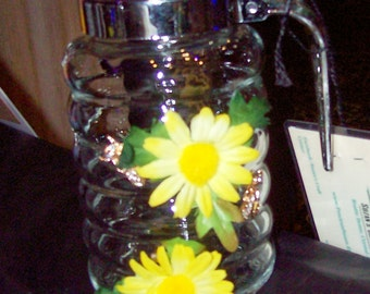 Honey Jar with flowers and bee's