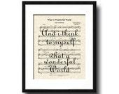 What A Wonderful World Sheet Music Song Lyric Art Print, Louis Armstrong's What A Wonderful World Art, Song Lyric Quote