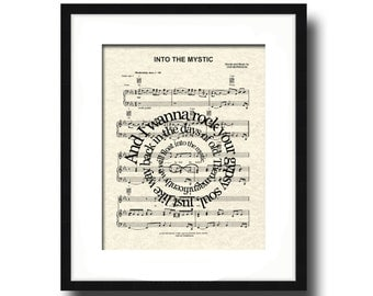 Into The Mystic by Van Morrison Song Lyric Art Print, Sheet Music Art Print, Love Song Art, Custom, Wedding, Anniversary, Name and Date