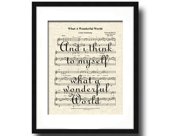 What A Wonderful World Sheet Music Song Lyric Art Print, Louis Armstrong's What A Wonderful World Art, Song Lyric Quote