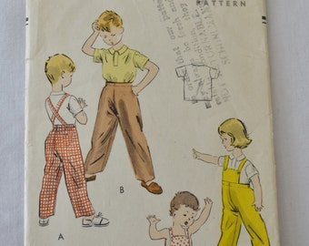 Vintage 50s Child's Overalls or Pants and Shirt Sewing Pattern Vogue 2670 Size 4 Breast 23 Hip 24