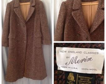 Sale! Vintage 1980s long wool coat, size small/medium, Merin brand