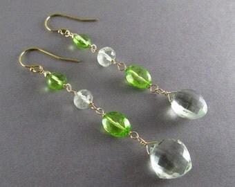 25% Off Green Amethyst With Peridot Quartz Gold Filled Dangle Earrings