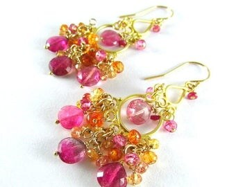 25 % OFF Pink Tourmaline With Sapphire And Quartz Gold Filled Cluster Chandelier Earrings