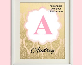 Personalized Nursery Print, Baby Girl Nursery Wall Decor, Custom Name Print, Nursery Wall Art, Girl Wall Art, Pink Gold Coral Nursery Decor