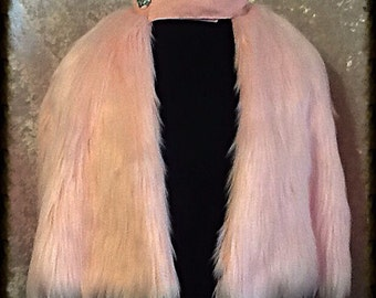 "Luscious ""Cotton Candy"" Pale Pink Faux Fur Capelet"