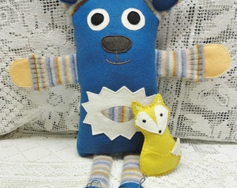Plush Doll Toy, Felted Sweater Doll, Pillow, Royal Blue Wool, Striped Multicolor Wool, Yellow Fox, Travel Toy