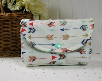 Large Snap Pouch ... Arrows in Mint, Coral and Metallic Gold