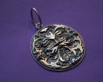 Woodland Spirit -Sterling Silver Mythic Green Man Jewelry Pendant 925 Made in Cnada Greenman