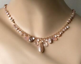 Pink Biwa Pearl Necklace Rose Gold Dangle Necklace Pearl Opal Necklace Hand Knotted Silk Pink Blush Gemstone Boho Chic Necklace