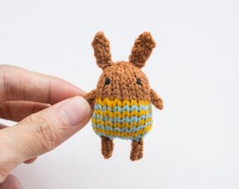 Fika the Bunny - knitted amigurumi brooch