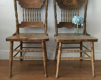 CUSTOM COLOR pick  any color you want Vintage wood rustic dining chairs set 2