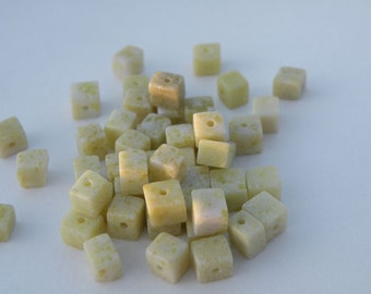50 pcs Peridot Jasper Gemstone Cube Beads 5mm - 6mm