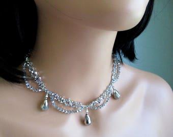 Sparkly Choker Sparkling Swarovski Crystal Short Necklace Wedding Bridal Bridesmaid Jewelry Prom Silver Evening Collar Glamorous Bling