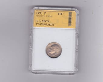 1993 P Roosevelt dime  graded MS 70  BY S.G.S.