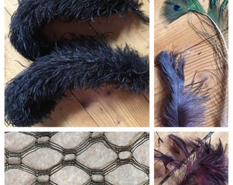 Fantastic Lot of Millinery Supplies - 29 Feathers and 10 Netting Sections