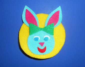 Fabulous Felt Blue Honey Bunny Brooch