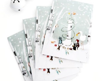 20% OFF - Special Offer - Set of 4 Greeting Cards + 4 White Envelopes - Enchanted Christmas