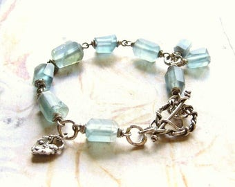 Ocean Hues - Handmade Oxidized Sterling Silver and Matte Fluorite Nugget Bead, Wire Wrapped Artisan Bracelet with Gift Box