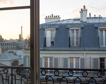 Paris Photography, Window onto St Germain, Parisian Rooftops, Eiffel tower, Paris Sunset, Living Room Art, Paris Balcony, Rebecca Plotnick