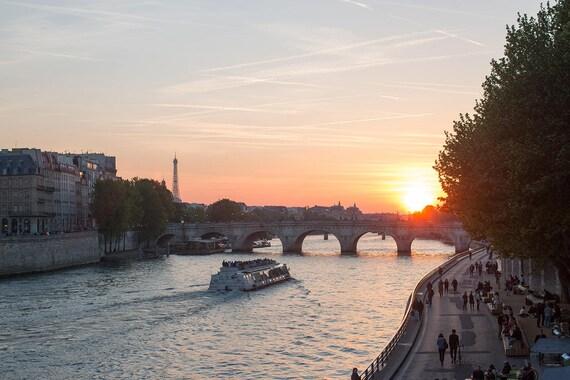 Paris Photography, Sunset on the Seine, Paris, Summer in France, Parisian, Eiffel Tower, Paris Wall Art, Sunset, Architecture